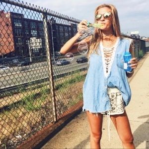 LF furst of a kind lace up denim sleeveless top